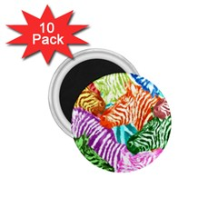 Zebra Colorful Abstract Collage 1 75  Magnets (10 Pack)  by Amaryn4rt