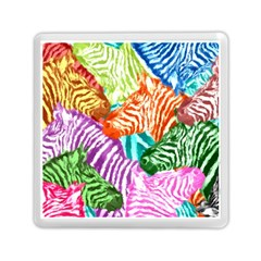 Zebra Colorful Abstract Collage Memory Card Reader (square)