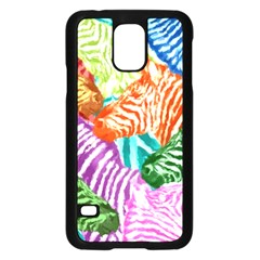 Zebra Colorful Abstract Collage Samsung Galaxy S5 Case (black) by Amaryn4rt