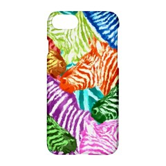 Zebra Colorful Abstract Collage Apple Iphone 7 Hardshell Case by Amaryn4rt