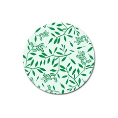 Leaves Foliage Green Wallpaper Magnet 3  (round) by Amaryn4rt