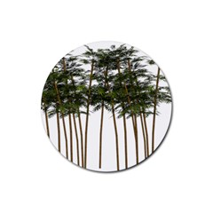 Bamboo Plant Wellness Digital Art Rubber Round Coaster (4 Pack)  by Amaryn4rt