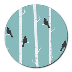 Birds Trees Birch Birch Trees Round Mousepads