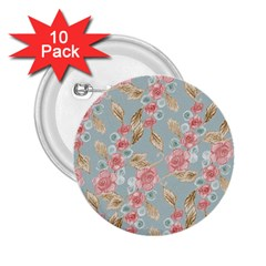 Background Page Template Floral 2 25  Buttons (10 Pack)  by Amaryn4rt