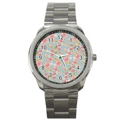 Background Page Template Floral Sport Metal Watch by Amaryn4rt
