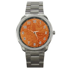 Burnt Amber Orange Brown Abstract Sport Metal Watch by Amaryn4rt