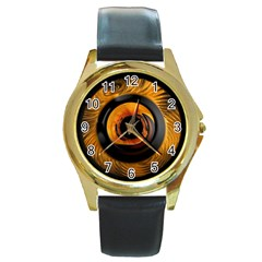 Fractal Mathematics Abstract Round Gold Metal Watch by Amaryn4rt