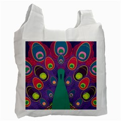 Peacock Bird Animal Feathers Recycle Bag (one Side) by Amaryn4rt