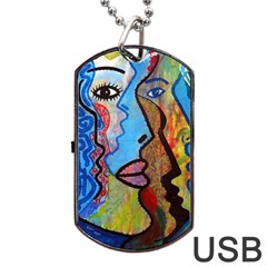 Graffiti Wall Color Artistic Dog Tag Usb Flash (one Side) by Amaryn4rt