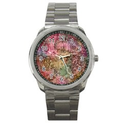 Texture Background Spring Colorful Sport Metal Watch by Amaryn4rt