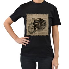 Vintage Collage Motorcycle Indian Women s T Shirt (black) by Amaryn4rt