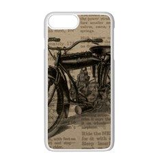 Vintage Collage Motorcycle Indian Apple Iphone 7 Plus White Seamless Case by Amaryn4rt