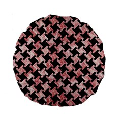 Houndstooth2 Black Marble & Red & White Marble Standard 15  Premium Round Cushion  by trendistuff