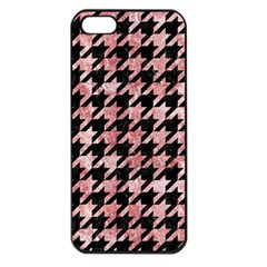 Houndstooth1 Black Marble & Red & White Marble Apple Iphone 5 Seamless Case (black) by trendistuff