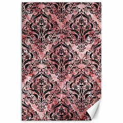 Damask1 Black Marble & Red & White Marble (r) Canvas 24  X 36  by trendistuff