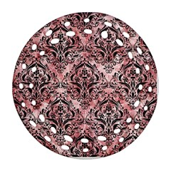 Damask1 Black Marble & Red & White Marble (r) Round Filigree Ornament (two Sides) by trendistuff