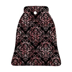 Damask1 Black Marble & Red & White Marble Bell Ornament (two Sides) by trendistuff