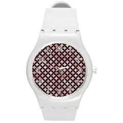 Circles3 Black Marble & Red & White Marble (r) Round Plastic Sport Watch (m) by trendistuff