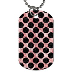 Circles2 Black Marble & Red & White Marble (r) Dog Tag (two Sides) by trendistuff