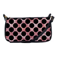 Circles2 Black Marble & Red & White Marble (r) Shoulder Clutch Bag by trendistuff