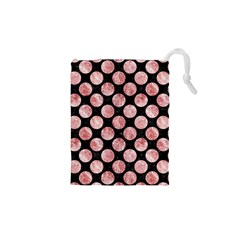 Circles2 Black Marble & Red & White Marble Drawstring Pouch (xs) by trendistuff