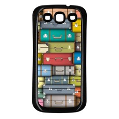 Colored Suitcases Samsung Galaxy S3 Back Case (black) by AnjaniArt
