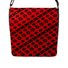 Diogonal Flower Red Flap Messenger Bag (l)  by AnjaniArt