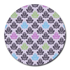 Damask Small Flower Purple Green Blue Black Floral Round Mousepads by AnjaniArt