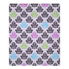 Damask Small Flower Purple Green Blue Black Floral Shower Curtain 60  X 72  (medium)  by AnjaniArt