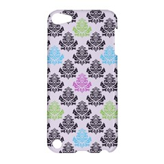 Damask Small Flower Purple Green Blue Black Floral Apple Ipod Touch 5 Hardshell Case by AnjaniArt
