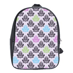 Damask Small Flower Purple Green Blue Black Floral School Bags (xl)  by AnjaniArt