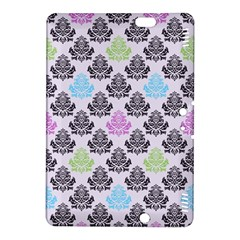 Damask Small Flower Purple Green Blue Black Floral Kindle Fire Hdx 8 9  Hardshell Case by AnjaniArt