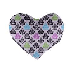Damask Small Flower Purple Green Blue Black Floral Standard 16  Premium Flano Heart Shape Cushions by AnjaniArt