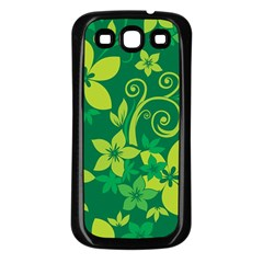 Flower Yellow Green Samsung Galaxy S3 Back Case (black) by AnjaniArt