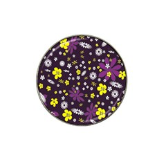 Floral Purple Flower Yellow Hat Clip Ball Marker (4 Pack) by AnjaniArt