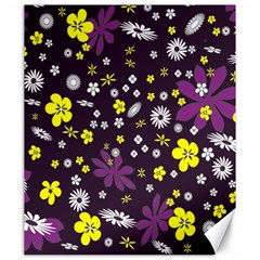 Floral Purple Flower Yellow Canvas 20  X 24   by AnjaniArt