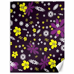Floral Purple Flower Yellow Canvas 36  X 48   by AnjaniArt