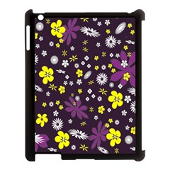 Floral Purple Flower Yellow Apple Ipad 3/4 Case (black) by AnjaniArt