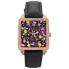 Floral Purple Flower Yellow Rose Gold Leather Watch  by AnjaniArt