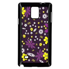 Floral Purple Flower Yellow Samsung Galaxy Note 4 Case (black) by AnjaniArt