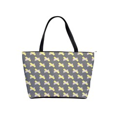 Hearts And Yellow Crossed Washi Tileable Gray Shoulder Handbags by AnjaniArt