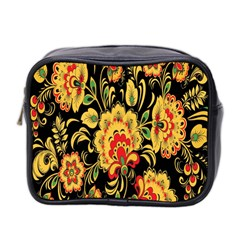 Flower Yellow Green Red Mini Toiletries Bag 2 Side by AnjaniArt