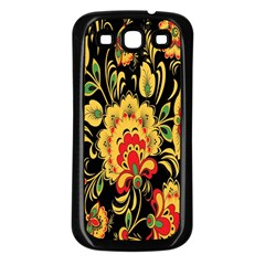 Flower Yellow Green Red Samsung Galaxy S3 Back Case (black) by AnjaniArt