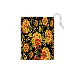Flower Yellow Green Red Drawstring Pouches (small)  by AnjaniArt