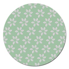 Pink Flowers On Light Green Magnet 5  (round) by AnjaniArt