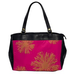 Yellow Flowers On Pink Background Pink Office Handbags by AnjaniArt