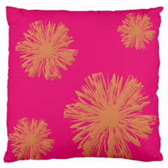 Yellow Flowers On Pink Background Pink Large Flano Cushion Case (two Sides) by AnjaniArt
