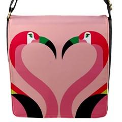 Bird Flamingo Illustration Love Flap Messenger Bag (s) by Jojostore