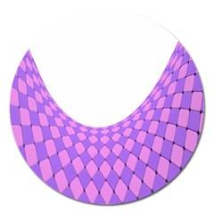 Curve Purple Pink Wave Magnet 5  (round) by Jojostore