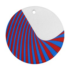 Curve Red Blue Round Ornament (two Sides)  by Jojostore